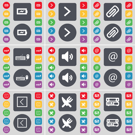arrow right: Charging, Arrow right, Clip, Keyboard, Sound, Mail, Arrow left, Fork and knife, Record-player icon symbol. A large set of flat, colored buttons for your design. Vector illustration