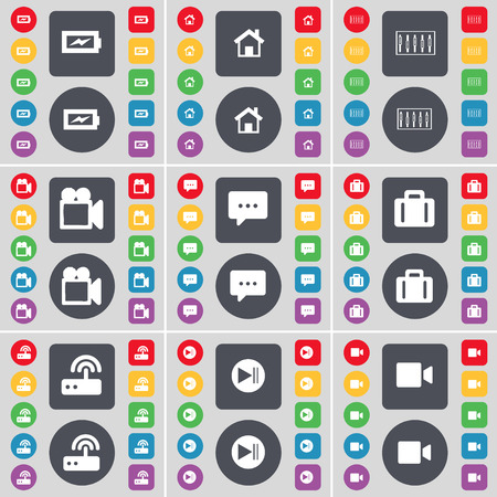 skip: Charging, House, Equalizer, Film camera, Chat bubble, Suitcase, Router, Media skip, Film camera icon symbol. A large set of flat, colored buttons for your design. Vector illustration Illustration