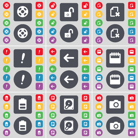 hard drive: Videotape, Lock, File, Exclamation mark, Arrow left, Calendar, Battery, Hard drive, Camera icon symbol. A large set of flat, colored buttons for your design. Vector illustration
