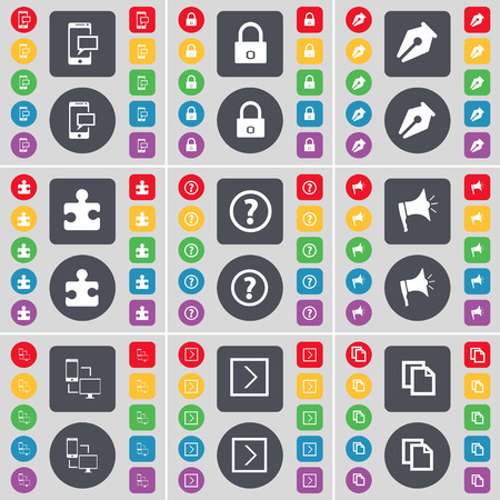 mark pen: SMS, Lock, Ink pen, Puzzle part, Question mark, Megaphone, Connection, Arrow right, Copy icon symbol. A large set of flat, colored buttons for your design. Vector illustration