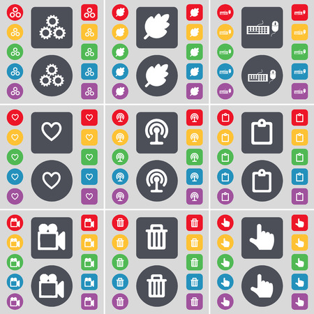 heart gear: Gear, Leaf, Keyboard, Heart, Wi-Fi, Survey, Film camera, Trash can, Hand icon symbol. A large set of flat, colored buttons for your design. Vector illustration
