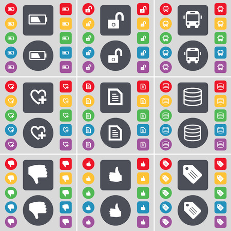 heart with text: Battery, Lock, Bus, Heart, Text file, Database, Dislike, Like, Tag icon symbol. A large set of flat, colored buttons for your design. Vector illustration