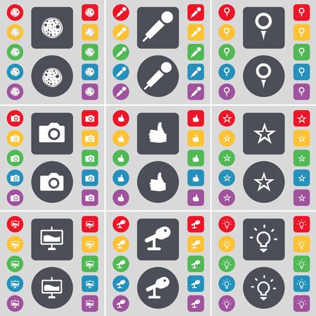 checkpoint: Pizza, Microphone, Checkpoint, Camera, Like, Star, Graph, Microphone, Light bulb icon symbol. A large set of flat, colored buttons for your design. Vector illustration