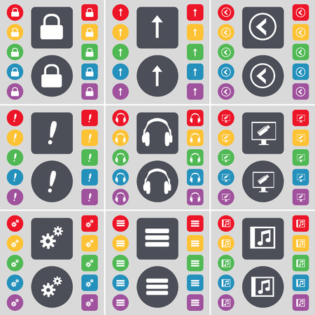 lock up: Lock, Arrow up, Arrow left, Exclamation mark, Headphones, Monitor, Gear, Apps, Music window icon symbol. A large set of flat, colored buttons for your design. Vector illustration