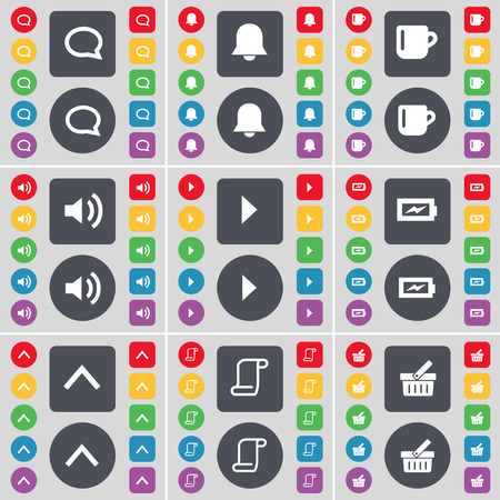 scroll up: Chat bubble, Notification, Cup, Sound, Media skip, Charging, Arrow up, Scroll, Basket icon symbol. A large set of flat, colored buttons for your design. Vector illustration