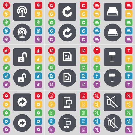 disco duro: Wi-Fi, Reload, Disco duro, Lock, archivos multimedia, poste indicador, Volver, SMS, Mute icono de s�mbolo. Un gran conjunto de planos botones, colores para su dise�o. Ilustraci�n vectorial