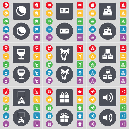 game console: Moon, Buy, Cash register, Wineglass, Bow, Network, Game console, Gift, Sound icon symbol. A large set of flat, colored buttons for your design. Vector illustration