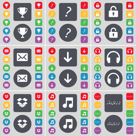 dropbox: Cup, Question mark, Lock, Message, Arrow down, Headphones, Dropbox, Note icon symbol. A large set of flat, colored buttons for your design. Vector illustration