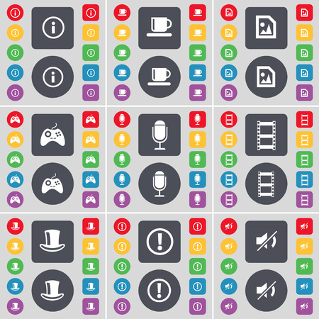 silk hat: Information, Cup, Media file, Gamepad, Microphone, Negative film, Silk hat, Warning, Mute icon symbol. A large set of flat, colored buttons for your design. Vector illustration