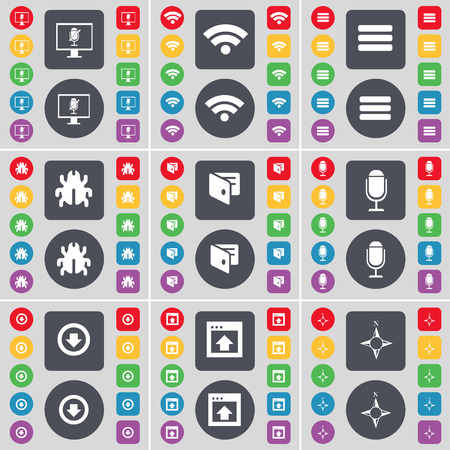 freccia giù: Monitor, Wi-Fi, Apps, Bug, Wallet, Microphone, Arrow down, Window, Compass icon symbol. A large set of flat, colored buttons for your design. Vector illustration