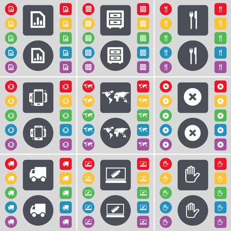 bedtable: Diagram file, Bed-table, Fork and knife, Smartphone, Globe, Stop, Truck, Laptop, Hand icon symbol. A large set of flat, colored buttons for your design. Vector illustration