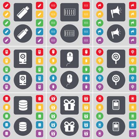 mobile phone icon: USB, Equalizer, Megaphone, Speaker, Mouse, Lollipop, Database, Gift, Mobile phone icon symbol. A large set of flat, colored buttons for your design. Vector illustration Illustration