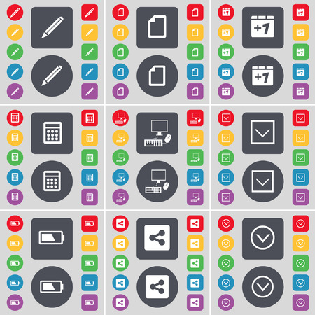 file share: Pencil, File, Plus one, Calculator, PC, Arrow down, Battery, Share, Arrow down icon symbol. A large set of flat, colored buttons for your design. Vector illustration