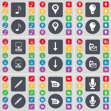 note pc: Note, Checkpoint, Light bulb, PC, Arrow down, SMS, Pencil, Film camera, Microphone icon symbol. A large set of flat, colored buttons for your design. Vector illustration