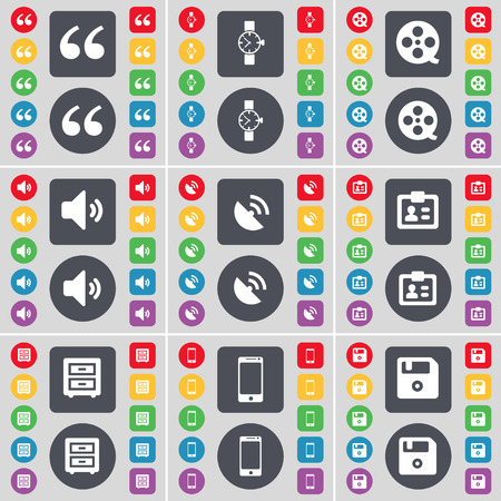 videotape: Quotation mark, Wrist watch, Videotape, Sound, Satellite dish, Contact, Bed-table, Smartphone, Floppy icon symbol. A large set of flat, colored buttons for your design. Vector illustration