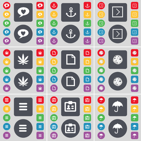 arrow right: Chat bubble, Anchor, Arrow right, Marijuana, File, Pizza, Apps, Contact, Umbrella icon symbol. A large set of flat, colored buttons for your design. Vector illustration