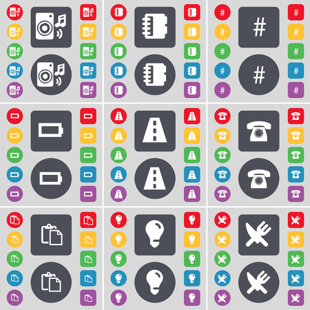 fork in road: Speaker, Marker, Hashtag, Battery, Road, Retro phone, Survey, Light bulb, Fork and knife icon symbol. A large set of flat, colored buttons for your design. Vector illustration Illustration