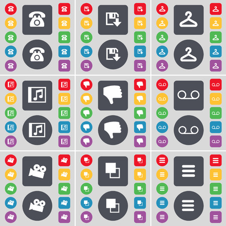 retro telefon: Retro phone, Floppy, Hanger, Music window, Dislike, Cassette, Film camera, Copy, Apps icon symbol. A large set of flat, colored buttons for your design. Vector illustration Illustration
