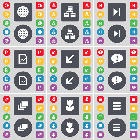 network and media: Globe, Network, Media skip, Graph file, Deploying screen, Chat bubble, Gallery, Flower, Apps icon symbol. A large set of flat, colored buttons for your design. Vector illustration