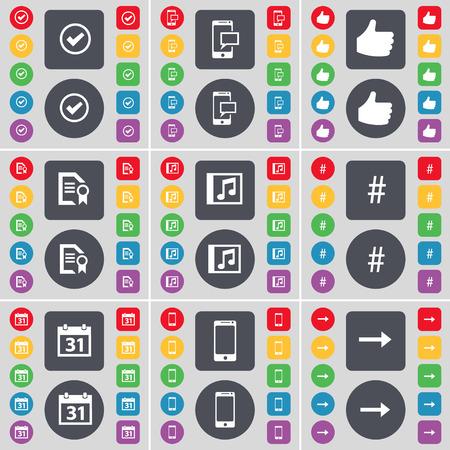 arrow right: Tick, SMS, come, file di testo, finestra Musica, hashtag, Calendario, Smartphone, Freccia destra icona simbolo. Un grande insieme di piatti, pulsanti colorati per il vostro disegno. Illustrazione vettoriale Vettoriali