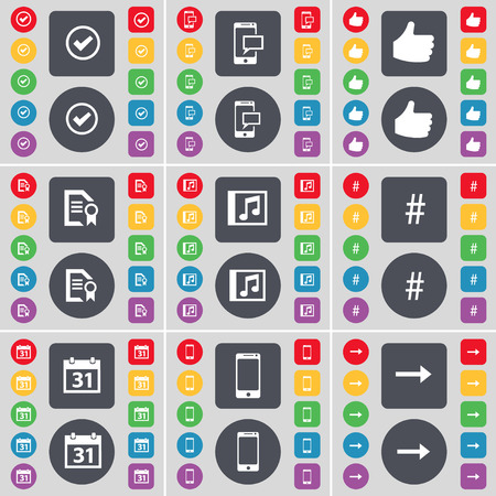 sms text: Tick, SMS, Like, Text file, Music window, Hashtag, Calendar, Smartphone, Arrow right icon symbol. A large set of flat, colored buttons for your design. Vector illustration