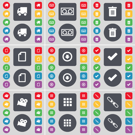 arrow down: Truck, Cassette, Trash can, File, Arrow down, Tick, Film camera, Apps, Link icon symbol. A large set of flat, colored buttons for your design. Vector illustration Illustration