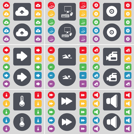 arrow right: Cloud, PC, Disk, Arrow right, Swimmer, Film camera, Thermometer, Rewind, Sound icon symbol. A large set of flat, colored buttons for your design. Vector illustration Vettoriali