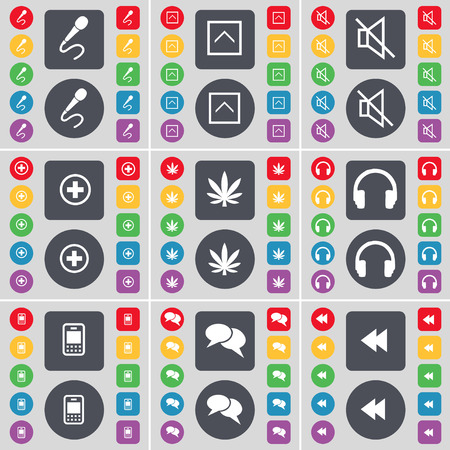 chat up: Microphone, Arrow up, Mute, Plus, Marijuana, Headphones, Mobile phone, Chat, Rewind icon symbol. A large set of flat, colored buttons for your design. Vector illustration Illustration