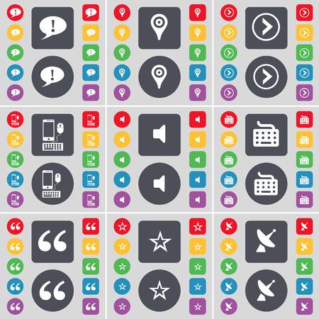 arrow right: Burbuja de chat, Checkpoint, Flecha derecha, Smartphone, Sonido, Teclado, Comillas, Estrella, Sat�lite icono plato s�mbolo. Un gran conjunto de planos, botones de colores para su dise�o. Ilustraci�n vectorial