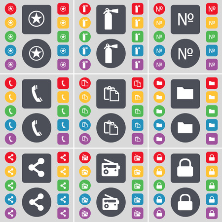 fire extinguisher symbol: Star, Fire extinguisher, Number, Receiver, Survey, Folder, Share, Radio, Lock icon symbol. A large set of flat, colored buttons for your design. Vector illustration