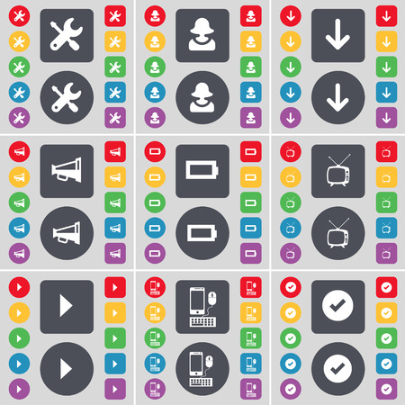 retro tv: Wrench, Avatar, Arrow down, Megaphone, Battery, Retro TV, Media play, Smartphone, Tick icon symbol. A large set of flat, colored buttons for your design. Vector illustration
