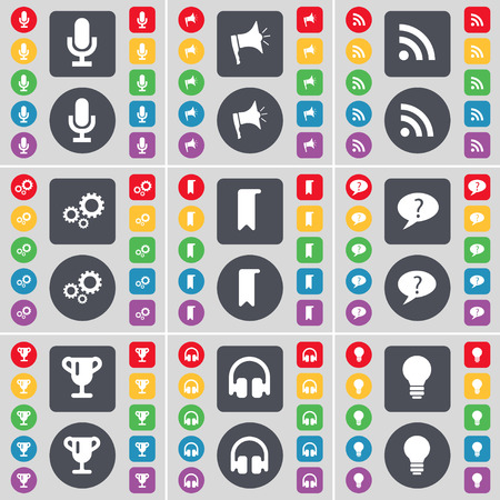chat bubble: Microphone, Megaphone, RSS, Gear, Marker, Chat bubble, Cup, Headphones, Light bulb icon symbol. A large set of flat, colored buttons for your design. Vector illustration Illustration