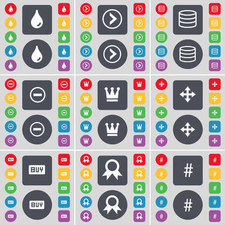 arrow right: Drop, Arrow right, Database, Minus, Crown, Moving, Buy, Medal, Hashtag icon symbol. A large set of flat, colored buttons for your design. Vector illustration