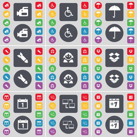 personne handicap�e: Appareil photo argentique, handicap�s, Parapluie, Rocket, Avatar, Dropbox, Calendrier, Connexion, plus un symbole de l'ic�ne. Un vaste ensemble de plats, des boutons de couleur pour votre conception. Vector illustration