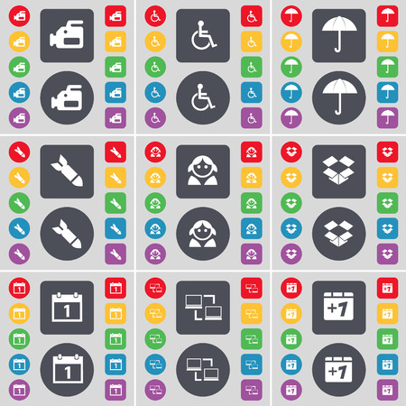 dropbox: Film camera, Disabled person, Umbrella, Rocket, Avatar, Dropbox, Calendar, Connection, Plus one icon symbol. A large set of flat, colored buttons for your design. Vector illustration Illustration