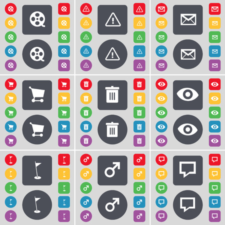 chat bubble icon: Videotape, Warning, Message, Shopping cart, Trash can, Vision, Golf hole, Mars symbol, Chat bubble icon symbol. A large set of flat, colored buttons for your design. Vector illustration
