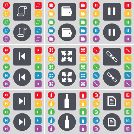 full screen: Scroll, Wallet, Pause, Media skip, Full screen, Link, Media skip, Bottle, Text file icon symbol. A large set of flat, colored buttons for your design. Vector illustration Illustration