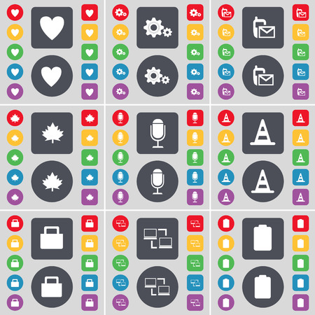 heart gear: Heart, Gear, SMS, Maple leaf, Microphone, Cone, Lock, Connection, Battery icon symbol. A large set of flat, colored buttons for your design. Vector illustration