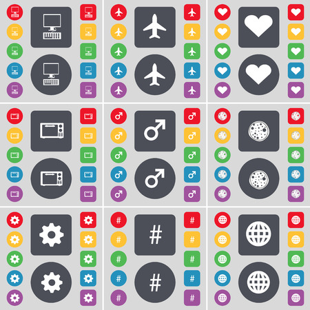 heart gear: PC, Airplane, Heart, Microwave, Mars symbol, Pizza, Gear, Hashtag, Globe icon symbol. A large set of flat, colored buttons for your design. Vector illustration