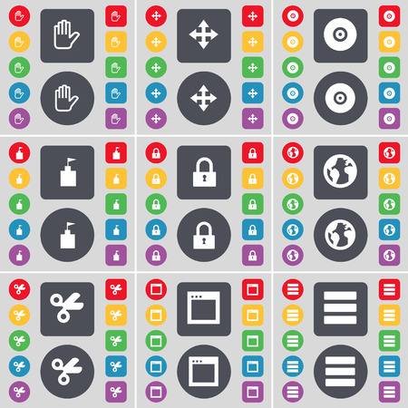 earth moving: Hand, Moving, Disk, Flag tower, Lock, Earth, Scissors, Window, Apps icon symbol. A large set of flat, colored buttons for your design. Vector illustration Vectores