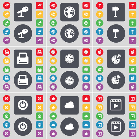 media player: Microphone, Earth, Signpost, Printer, Pizza, Power, Cloud, Media player icon symbol. A large set of flat, colored buttons for your design. Vector illustration