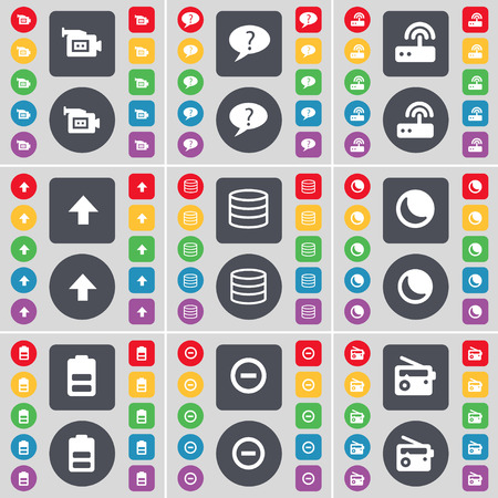 chat up: Film camera, Chat bubble, Router, Arrow up, Database, Moon, Battery, Minus, Radio icon symbol. A large set of flat, colored buttons for your design. Vector illustration