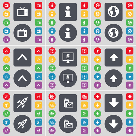 arrow down icon: Retro TV, Information, Earth, Arrow up, Monitor, Rocket, SMS, Arrow down icon symbol. A large set of flat, colored buttons for your design. Vector illustration