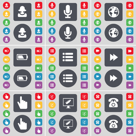 retro telefon: Avatar, Microphone, Earth, Battery, List, Rewind, Hand, Monitor, Retro phone icon symbol. A large set of flat, colored buttons for your design. Vector illustration Illustration
