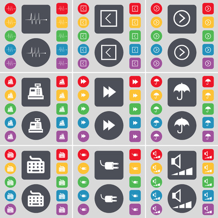 arrow right: Pulse, Arrow left, Arrow right, Cash register, Rewind, Umbrella, Keyboard, Socket, Volume icon symbol. A large set of flat, colored buttons for your design. Vector illustration Vettoriali