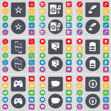 ink pot: Star, Speaker, Ink pot, Connection, Wallet, Battery, Gamepad, Chat cloud, Compass icon symbol. A large set of flat, colored buttons for your design. Vector illustration