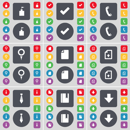 arrow down: Flag tower, Tick, Receiver, Checkpoint, File, Upload file, Tie, Dictionary, Arrow down icon symbol. A large set of flat, colored buttons for your design. Vector illustration Illustration