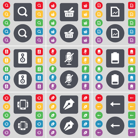 arrow left icon: Magnifying glass, Basket, Graph file, Speaker, Microphone, Battery, Smartphone, Ink pen, Arrow left icon symbol. A large set of flat, colored buttons for your design. Vector illustration