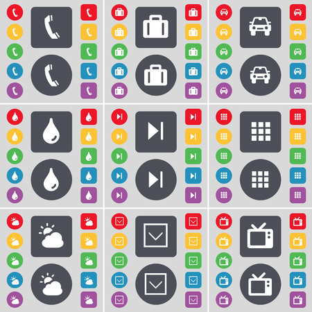 drop down: Receiver, Suitcase, Car, Drop, Media skip, Apps, Cloud, Arrow down, Retro TV icon symbol. A large set of flat, colored buttons for your design. Vector illustration