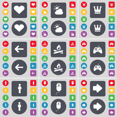 arrow right icon: Heart, Cloud, Crown, Arrow left, Campfire, Gamepad, Silhouette, Mouse, Arrow right icon symbol. A large set of flat, colored buttons for your design. Vector illustration